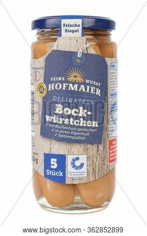 Niedersachsen, Germany April 23, 2020: A Jar Of Hofmaiers German Bock Wuerstchen Frankfurter Sausage