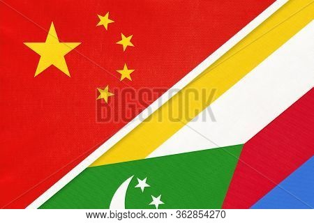 China Or Prc Vs Union Of The Comoros National Flag From Textile. Relationship Between Asian And Afri