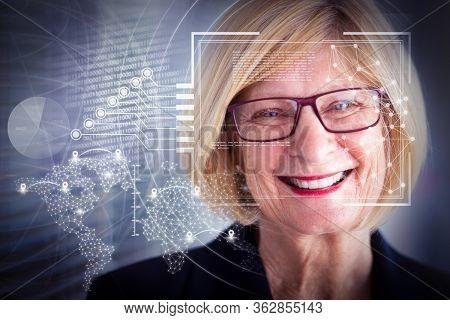 Joyful Senior Business Lady And Virtual Identification Graphics. Closeup Portrait Of Smiling Attract