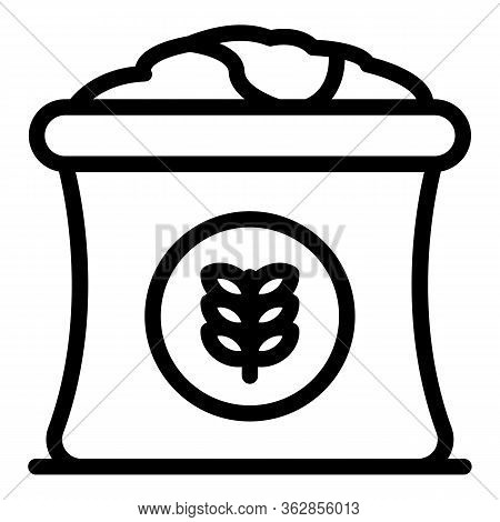 Wheat Sack Icon. Outline Wheat Sack Vector Icon For Web Design Isolated On White Background