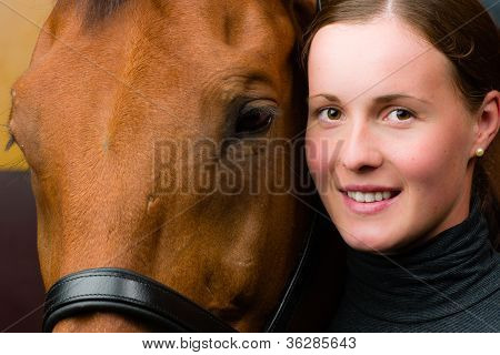 Woman and horse together woman looks toward camera horizon format poster