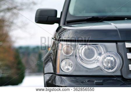 Grodno, Belarus, December 2012: Land Rover Range Rover Sport V8 Supercharged. Modern Luxury Black Pr