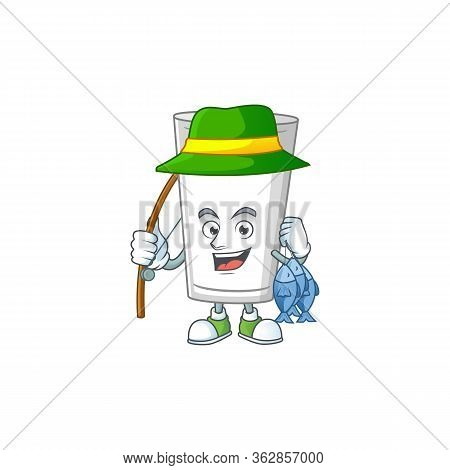 A Picture Of Glass Of Milk Fisher Mascot Design Catch A Fish. Vector Illustration