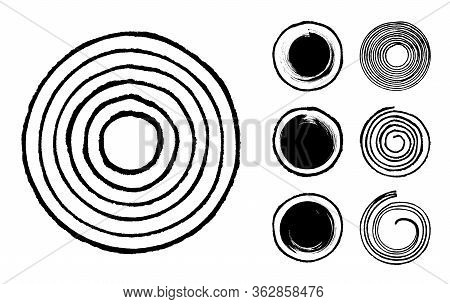 Collection Of Abstract Brushed Black Ink Circles, Dots And Spirals With Rough Edges And Grungy Textu