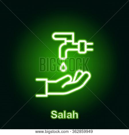 Ramadan Salah Outline Neon Icon. Element Of Ramadan Day Illustration Icon. Signs And Symbols Can Be