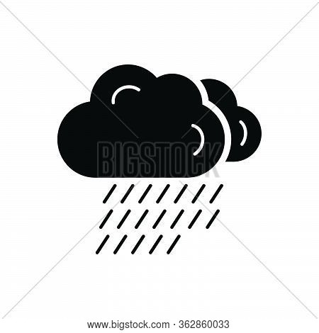 Black Solid Icon For Cloud Overcast Rain Weather