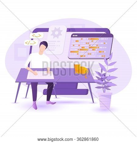 Software Programmer Typing Code Or Debugging. Sitting At The Desk, Working On Multiple Displays. Top