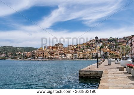 Porto Santo Stefano, Grosseto, Tuscany, Italy, April 2018: Dock On Seafront In Porto Santo Stefano V