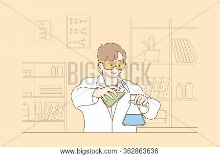 Science, Chemistry, Experiment Concept. Young Happy Man Scholar Medical Worker Makes Chemical Reacti