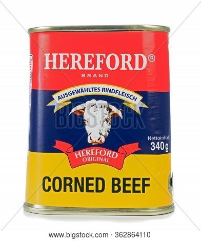Niedersachsen, Germany April 23, 2020: A Tin Of Hereford Corned Beef For The German Market On A Whit