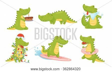 Toothy Friendly Crocodile Surfboarding And Decorating Himself With Fairy Lights Vector Set