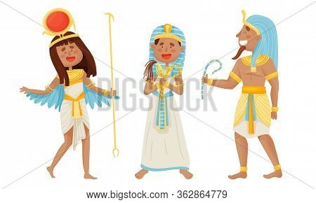 Egyptian Pharaoh And Deities Wearing Antique Clothing Vector Set