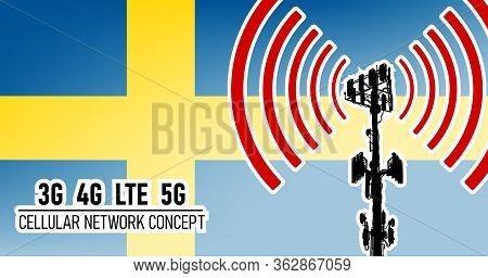 Cellular Mobile Network Tower Connection Concept For Sweden, Vector Illustration Of 3g 4g Lte 5g Har