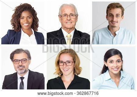Happy Diverse Business Leaders And Company Employees Isolated Portrait Set. Smiling Men And Women Of