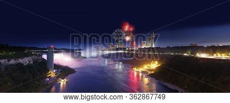 Panorama Fireworks At Niagara Falls, Ontario, Canada