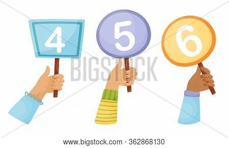 Human Hands Holding Score Cards Isolated On White Background Vector Set