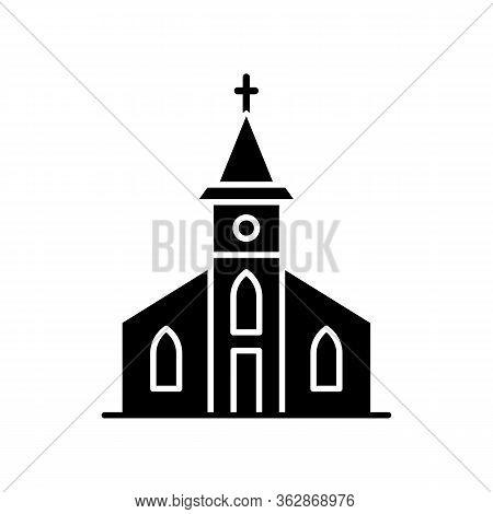 Catholic Church Black Glyph Icon. Religious Establishment With Cross On Roof. Christian Town Chapel.