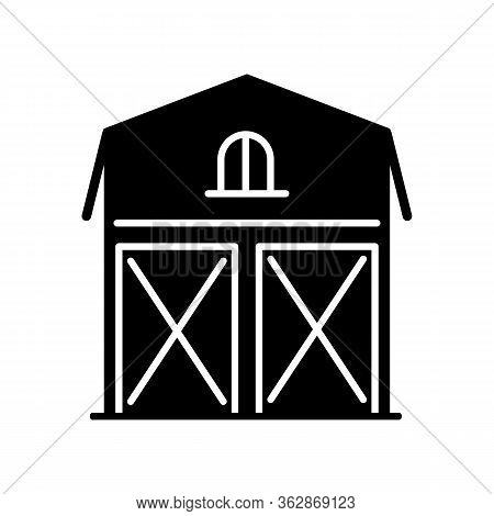 Barn Black Glyph Icon. Farming Storage Construction. Grain Warehouse. Agriculture House. Wooden Stoc