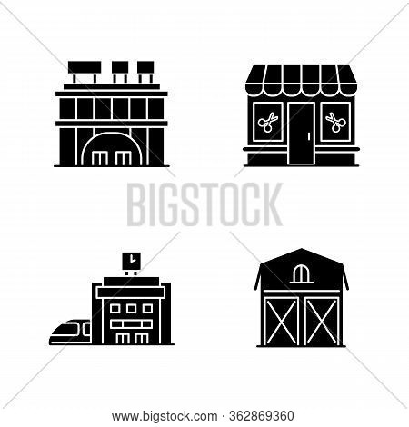 Buildings Black Glyph Icons Set On White Space. Shopping Center With Signboards On Roof. Beauty Salo