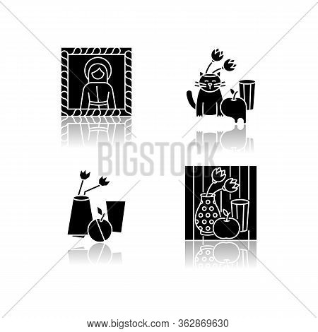 Art Movements Drop Shadow Black Glyph Icons Set. Surrealism And Cubism Styles. Medieval Portrait And