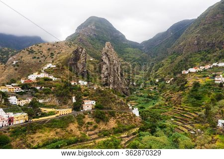 Panoramic View Of The Mountains On The Island Of La Gomera, Canary Islands, Spain.beautiful Landscap