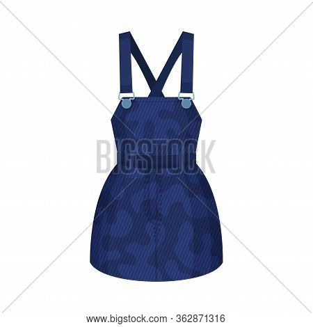 Denim Blue Pinafore Dress With Shoulder Straps As Womenswear Vector Illustration