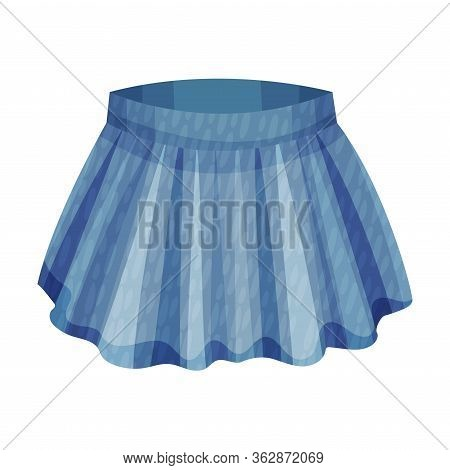 Denim Blue Pleated Skirt As Womenswear Vector Illustration
