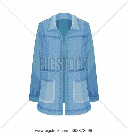Denim Blue Loose Shirt With Long Sleeves As Womenswear Vector Illustration