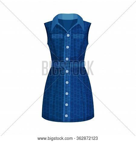 Denim Blue Sleeveless Buttoned Dress With Collar As Womenswear Vector Illustration