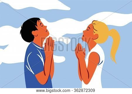 Praying, God, Religion, Couple, Christianity, Request, Faith Concept. Young Sad Religious Man Woman