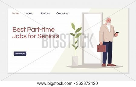 Best Part Time Jobs For Seniors Landing Page Vector Template. Recruitment Agency Website Interface I