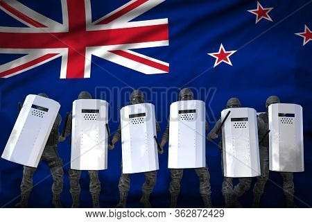 New Zealand Protest Fighting Concept, Police Officers Protecting Government Against Revolt - Militar