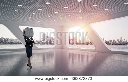 Business Woman In Suit With An Old Tv Instead Of Head Keeping Arms Crossed While Standing Inside Off