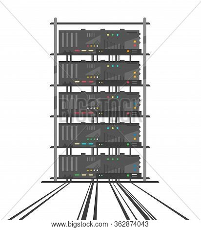 Rack Of Simple Network Servers In Data Center In Front View With Many Small Colored Buttons In Flat