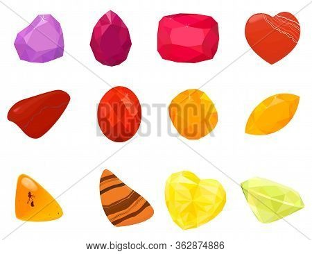 Colorful Gemstones Collection. Set Of Jewels Icons Isolated On White. Colorful Gemstones. Vector Gem