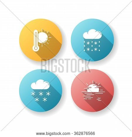 Temperature And Precipitation Forecast Flat Design Long Shadow Glyph Icons Set. Seasonal Weather Pre
