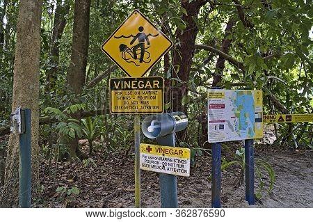 Stinger Warning Sign And Advises Near Cape Tribulation