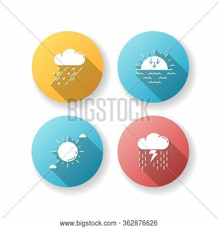 Daytime And Nighttime Forecast Flat Design Long Shadow Glyph Icons Set. Weather Prediction Science,
