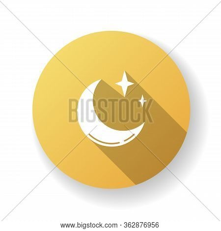 Clear Night Sky Yellow Flat Design Long Shadow Glyph Icon. Meteorology, Weather Forecasting Science.