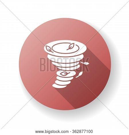 Tornado Red Flat Design Long Shadow Glyph Icon. Natural Disaster, Dangerous Phenomenon. Extreme Weat