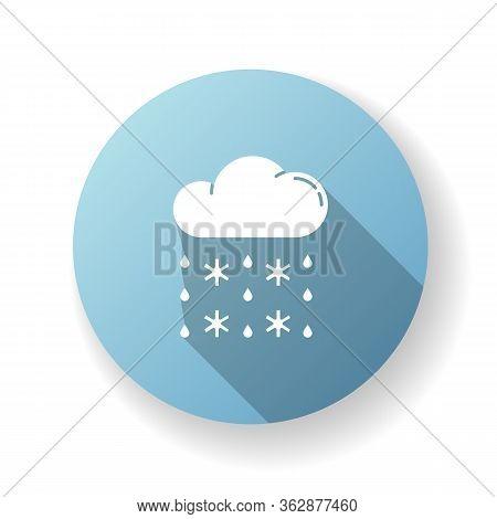 Heavy Snow, Sleet Blue Flat Design Long Shadow Glyph Icon. Winter Weather Forecast, Meteorology. Atm