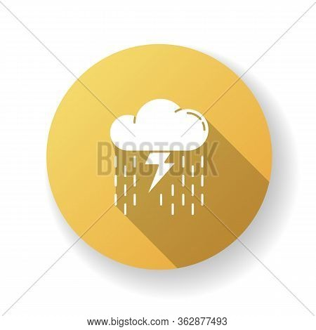 Heavy Showers Yellow Flat Design Long Shadow Glyph Icon. Weather Prediction, Meteo Forecast. Strong