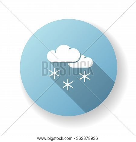 Scattered Snow Blue Flat Design Long Shadow Glyph Icon. Winter Weather Forecast, Meteorology. Winter
