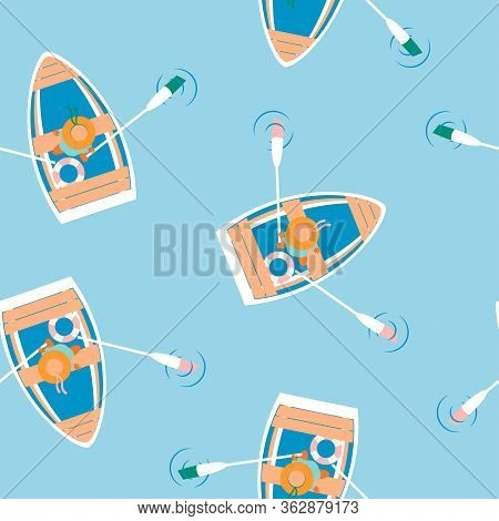 Floating Boat Seamless Pattern, Rowing Boat With Women In Hats And Colored Oars On Blue Background,