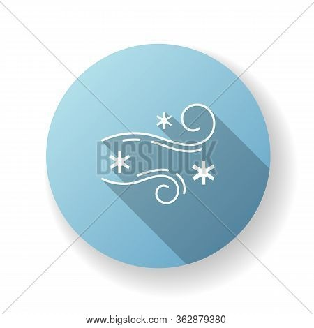 Blowing Snow Blue Flat Design Long Shadow Glyph Icon. Windy Weather, Meteorological Forecast. Strong