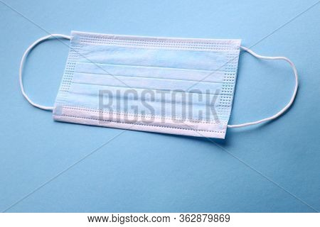 Disposable Blue Face Masks To Stop Viruses On A Blue Background