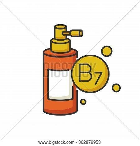 B7 Biotin In Liquid Form Rgb Color Icon. Conditioner With Vitamin. Shampoo For Nourishment. Mist And