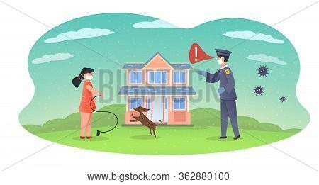 Girl In Mask Walks The Dog. Emergency Mode. Policeman Takes Child To Home Isolation. Policeman Fines