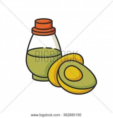 Avocado Oil Rgb Color Icon. Vegan Fluid For Haircare. Organic Antioxidant Liquid In Glass Jar. Vegan
