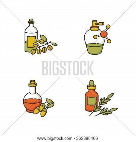 Hair Oils Rgb Color Icons Set. Organic Jojoba Essence For Healthy Nourishment. Keratin Formula For S